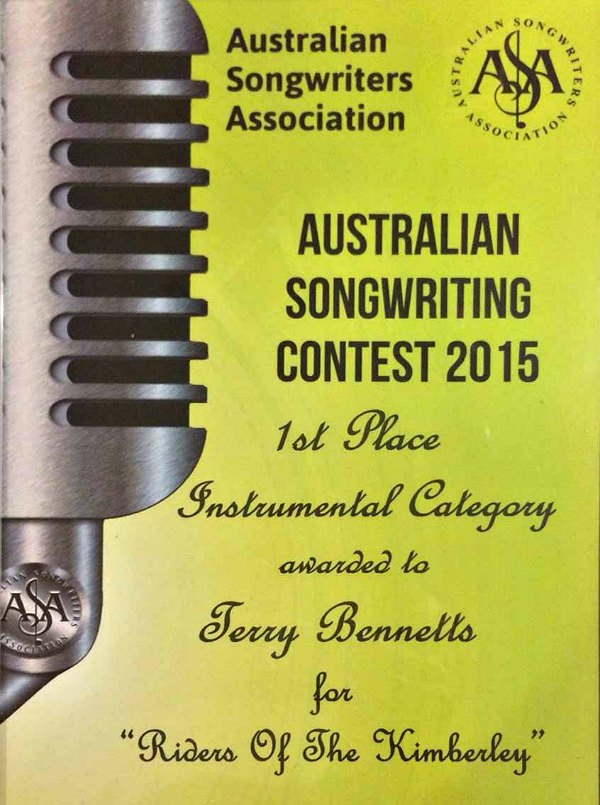 Australian Songwriting Association contest Awards2015-1st Place Instrumental Category-Terry Bennetts